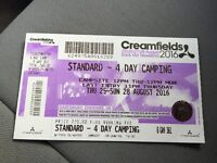Creamfields 4 day camping ticket 25th-28th-AUGUST