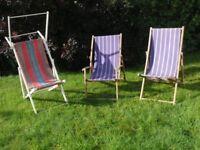 3 Vintage Wooden Deckchairs