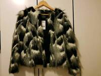 *BRAND NEW* FAUX FUR BLACK AND WHITE SIZE 8 - NEXT