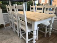 REDUCED - Lovely Shabby Chic Pine Farmhouse Table With Cutlery Drawer and 6 Lovely Chairs