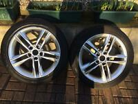 PAIR OF AUDI A3 S LINE 17 INCH ALLOYS AND TYRES