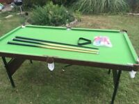 Snooker/Pool Table in excellent condition. Hardly used. All snooker/pool balls and cues included