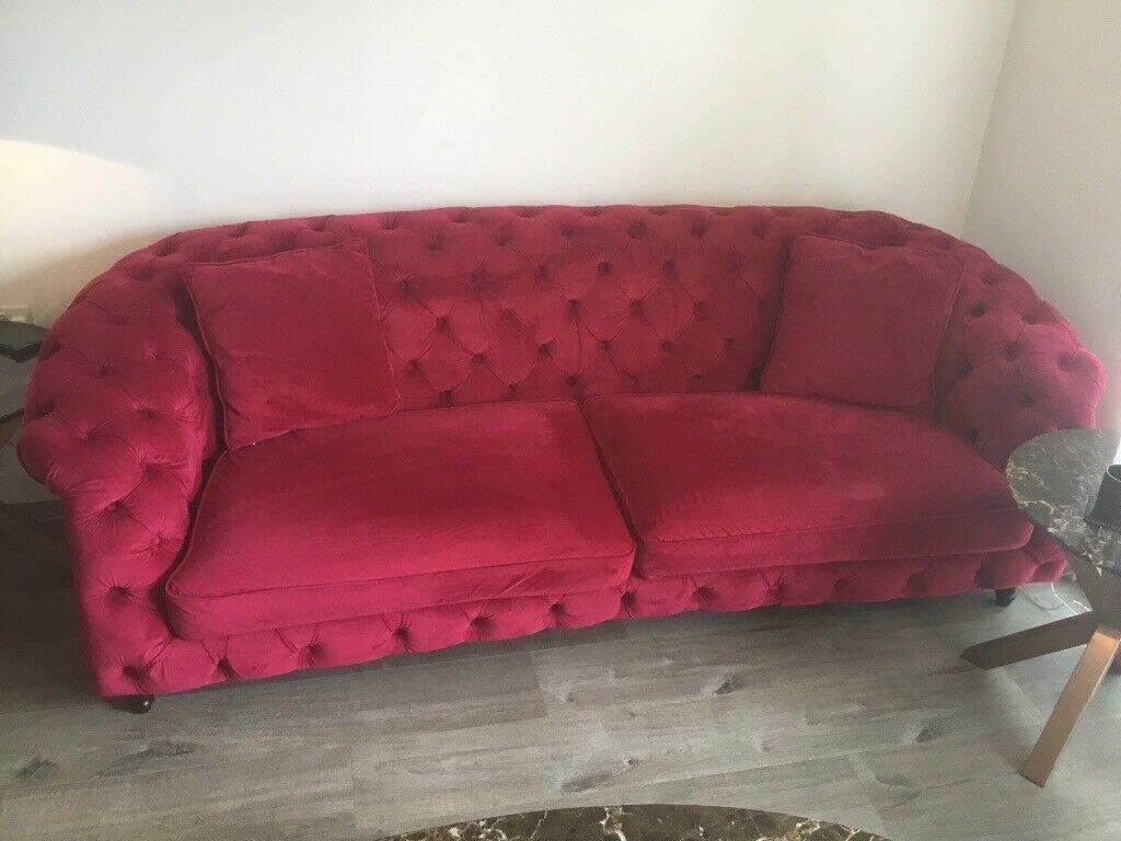 Red Dark Pink Plush Velvet Chesterfield Sofa In Droylsden