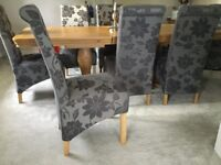 Almost new 8 fabric dining chairs £250.00