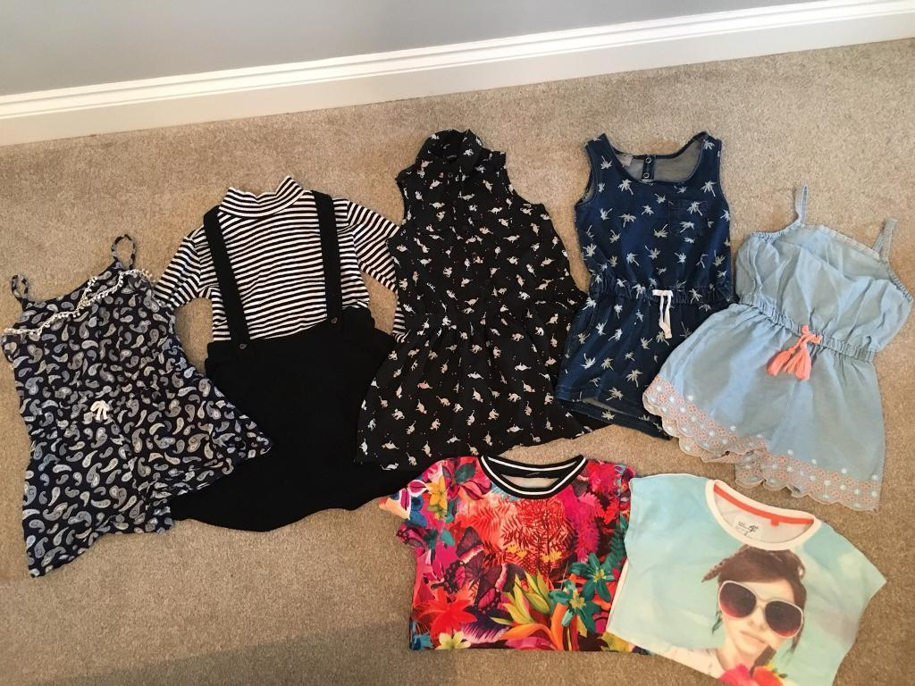 Girls bundle of clothes size 4-5 years playsuit dress tops t-shirts