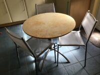 Round Bistro Table, Faux Marble Top, 3 Matching Chairs