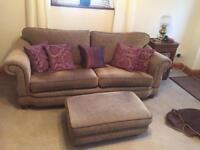 Sofa, armchair & foot stool