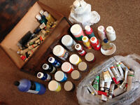 BUNDLE of acrylic and oil paints, turpentine, linseed oil in wooden container box! GREAT BUNDLE