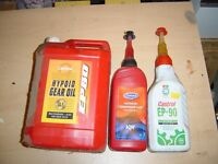 Assorted gear oils to clear for free.