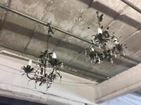2 antique vintage style brass chandeliers with glass droplets detail
