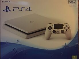 Brand new and sealed PS4 Slim 500GB Glacier White Console with warranty and extra DS4 controller