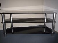 Television Stand - 3 Tier Black Glass - in excellent condition