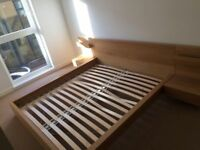 Ikea Malm King size bed frame with connected bedside tables - oak veneer