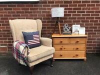 Cream HSL Buckingham Wingback Armchair Library Chair Fireside RRP £700