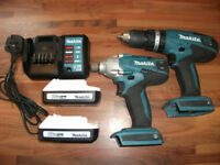 Makita 18v Combi Set Cordless Drill + Impact Gun, 2 Battery + Charger Cost £220! GREAT CONDITION!