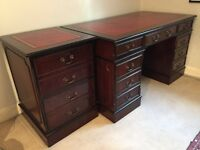 Classic dark wood pedestal desk with red leather top plus matching file cabinet