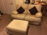 Cream leather sofa 3+2