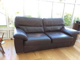 M&S brown leather sofa