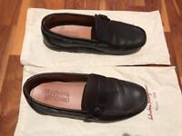 Salvatore Ferragamo Brown Leather Buckle Strap Loafers