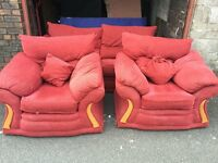 RED FABRIC 2 SEATER SOFA WITH 2 ARM CHAIRS,CAN DELIVER