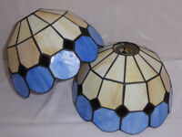 2 blue and cream Tiffany style lampshades.