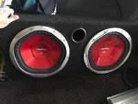 2 x 12 inch Sony subwoofers - 1200 watts each