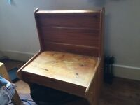 Small wooden bench pew chair with storage
