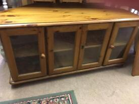 Large solid pine corner tv unit stand with glazed doors vgc