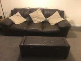 Brown leather 3 seater sofa and large storage footstall, comes with 3 cushions