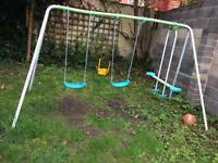 Garden slide swing set and trampoline 12 foot