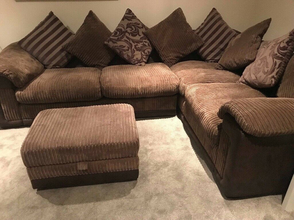 Dfs Mocha Brown Fabric Corner Sofa Amp Storage Footstool