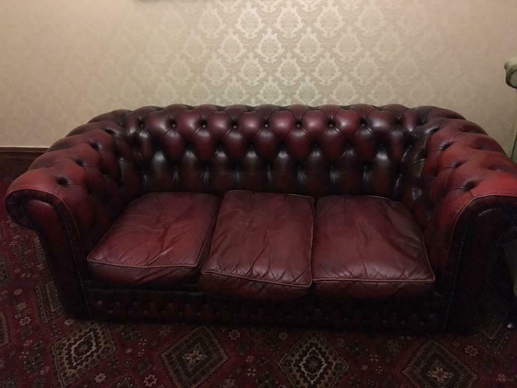 Magnificent Chesterfield 3 Seater Oxblood Red Leather Sofa In Bridgend Gumtree Cjindustries Chair Design For Home Cjindustriesco
