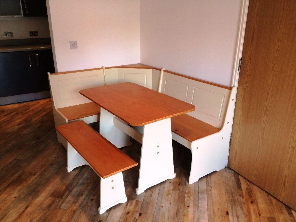 86 Haversham Pine Effect Dining Table Nook Corner