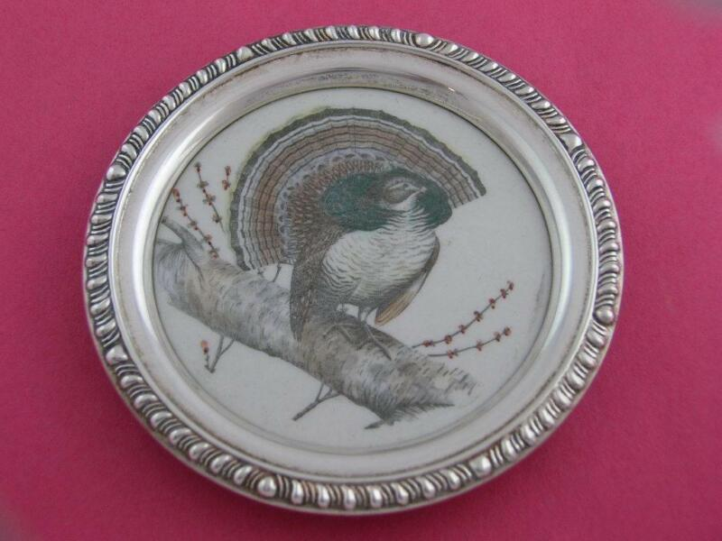 Sterling FRANK WHITING Coaster scene of the RUFFED GROUSE