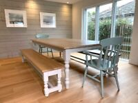 Dining Table Farmhouse Kitchen Set with Benches and Chairs Free Delivery Modern Oak Smooth
