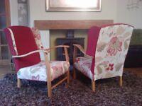 vintage chair, solid oak frame 1920/1930's. refurbished, courier possible***