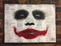 Joker painting on canvas. The Dark Knight. Heath Ledger. Batman. Comic gift Christmas movie geek