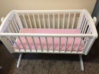 Mothercare white rocking crib.