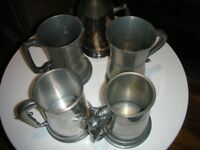 Collection of 5 Pewter tankards.