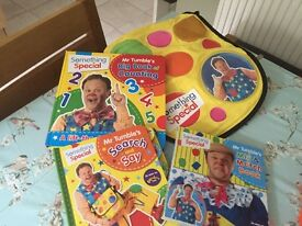 Mr Tumble Books and bag
