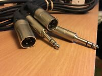 XLR TO 1/4 INCH JACK AUDIO CABLES (pair)