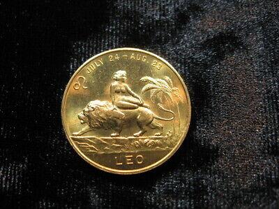 Beautiful old vintage Zodiac token coin nude Leo Lion woman (295)