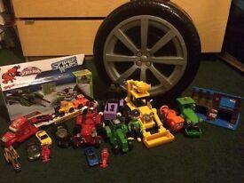 Garage in tyre, cars, spider launcher, Builder Bob tracktors