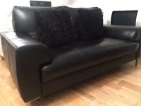 2 seater black leather sofa, originally From DFS.