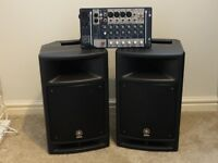 Yamaha stage pass 300 including all leads,brilliant PA system with mixer