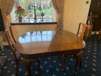 Vintage dining table with 2 original chairs
