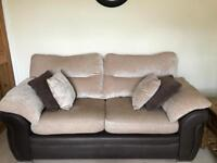 2 x Large two seater sofas Dark brown faux leather / light material cushions