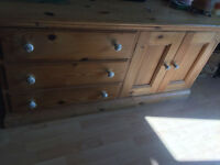 3 Draw, 2 Door Solid Pine Cupboard : Bedroom or Living Room