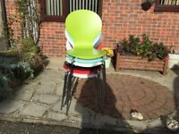 SIX COLOURFUL KITCHEN CHAIRS, STAINLESS STEEL LEGSO