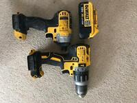 Dewalt 18v impact driver and brushless combi drill with 18v 4Ah battery